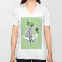 bianca green V-neck T-shirts featuring green by art of Bianca