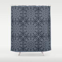 Gray - blue marble kaleidoscope, ornament elements print Shower Curtain