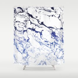 Modern white marble blue ombre navy blue watercolor gradient fade Shower Curtain