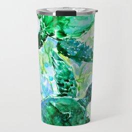 Sea Turtles Underwater Scene Turquoise Blue design, bright blue green design Travel Mug