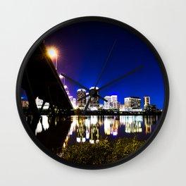 RVA Skyline at Night Wall Clock