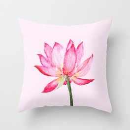 pink lotus flower Throw Pillow