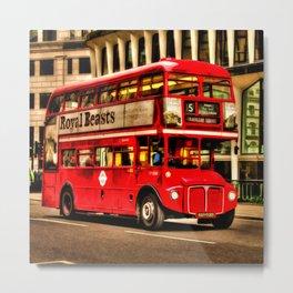 Trafalgar Square London Double Decker Bus Metal Print