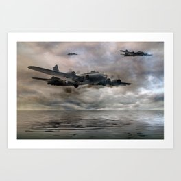 B-17 Flying Fortress - Almost Home Art Print