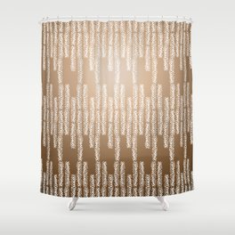 Eye of the Magpie tribal style pattern - gold Shower Curtain