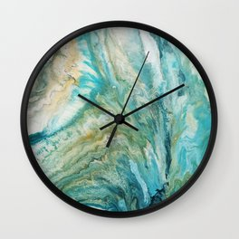 Acrylic pour abstract turquoise coast Wall Clock