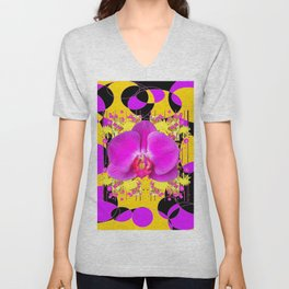 Artful Modern Purple & Gold Black Orchid Design Unisex V-Neck