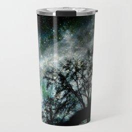 Black Trees Mysterious Blue Green Space Travel Mug
