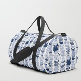 Swedish folk cats III // white background pale and navy blue kitties & bowls Duffle Bag