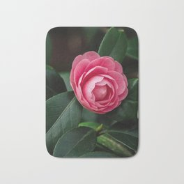 Blooming Pink Perfection Camellia Japonica Bath Mat