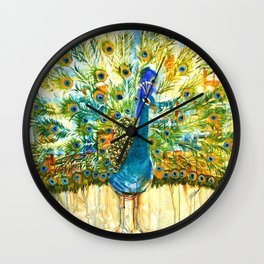 Peacock Pout, painting Wall Clock