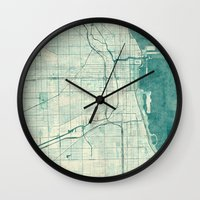 chicago map Wall Clocks featuring Chicago Map Blue Vintage by City Art Posters