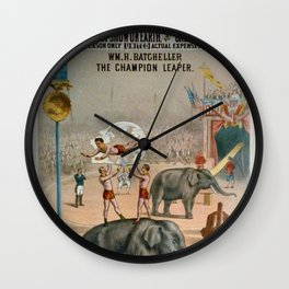P.T. Barnum Vintage Circus Posters with Batcheller The Champion Leaper Wall Clock