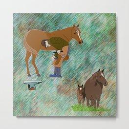 Horse Farrier Metal Print