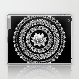 Black and White Lotus Mandala Laptop & iPad Skin