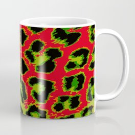 Red and Apple Green Leopard Spots Coffee Mug