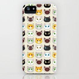 Cute Cat Expressions Pattern iPhone Case
