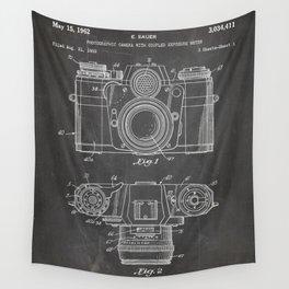 Camera Patent - Photography Art - Black Chalkboard Wall Tapestry