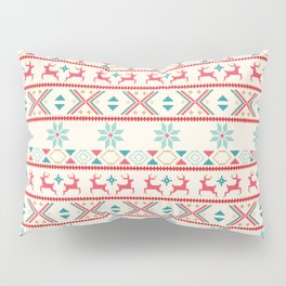 Fair Isle Beige Red #Christmas Pillow Sham