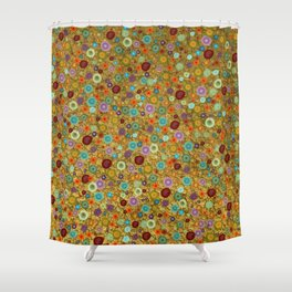 Playful Watercolor dots pattern - Gold Shower Curtain
