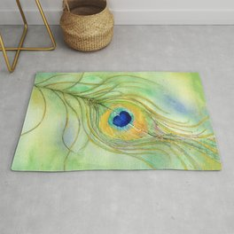 Abstract Peacock Feather Watercolor Rug