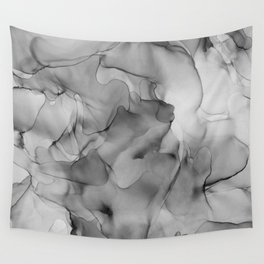 Black and White Marble Ink Abstract Painting Wall Tapestry