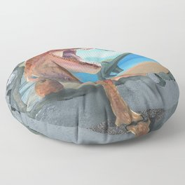 Prehistoric Dinosaur Tyrannosaurus Enters the 21st Century Floor Pillow