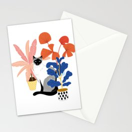 siamese cat and plants Stationery Cards