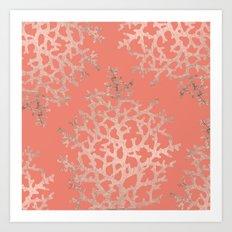 Faux rose gold coral sea hand drawn pattern salmon pattern Art Print