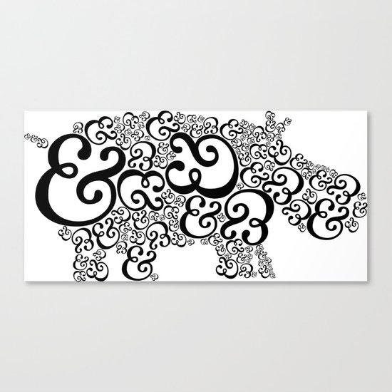 Ampersand Hippo Canvas Print