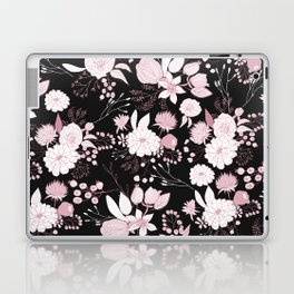 Blush pink white black rustic abstract floral illustration Laptop & iPad Skin