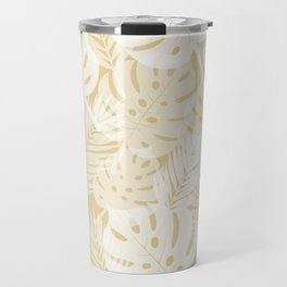 Tropical Shadows - Beige / White Travel Mug