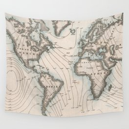 Vintage Map of The Worlds Magnetic Fields (1852) Wall Tapestry
