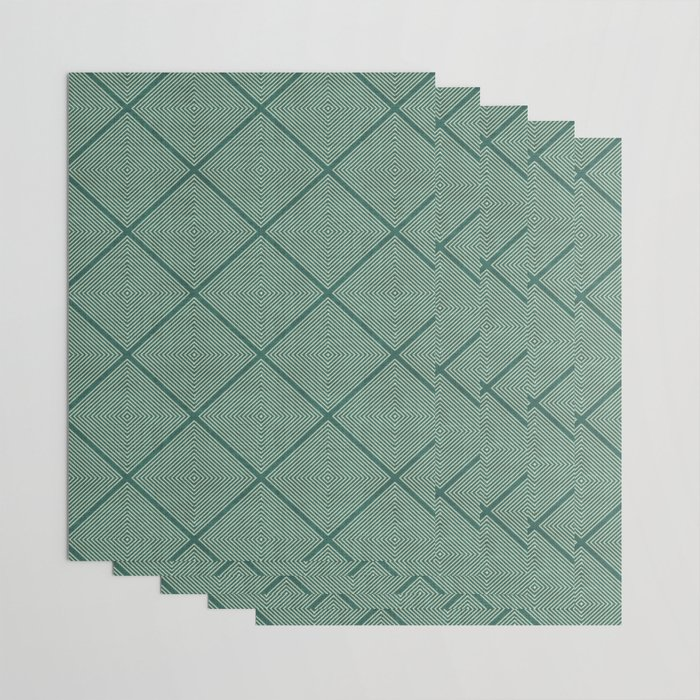 Stitched Diamond Geo Grid in Green Wrapping Paper