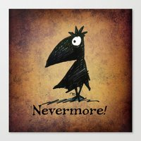 edgar allen poe Canvas Prints featuring Nevermore! The Raven - Edgar Allen Poe by Paul Stickland for StrangeStore