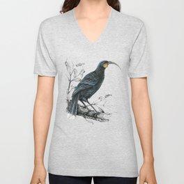 Huia, native bird of New Zealand Unisex V-Neck