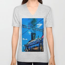 Retro Steam Locomotive And Black Smoke. The Number One Is Ready To Depart Unisex V-Neck