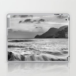 Waves At Half Moon Beach. Bw Laptop & iPad Skin