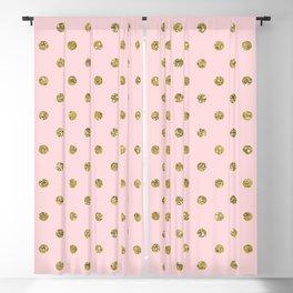Pink & Gold Glitter Polka Dots Blackout Curtain