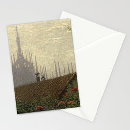 135 Spiers of the Duomo Cathedral, Milan, Italy floral cottage landscape by Angelo Morbelli Stationery Cards