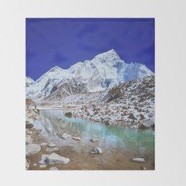 Mount Nuptse view and Mountain landscape view in Sagarmatha National Park, Nepal Himalaya. Throw Blanket