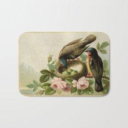 Vintage Birds with Nest Bath Mat
