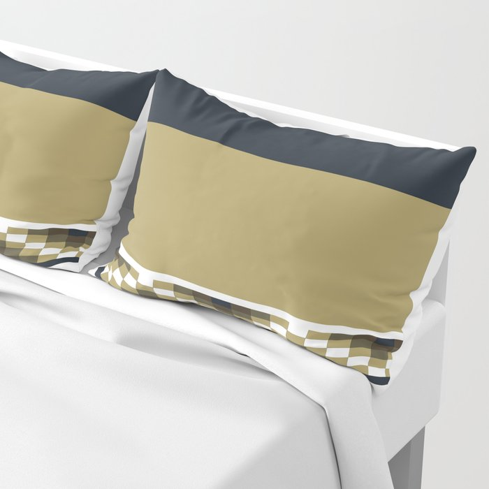 Block Wave Illustration 2 Thick Bold Horizontal Lines Digital Artwork Pillow Sham