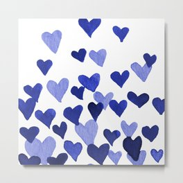 Valentine's Day Watercolor Hearts - blue Metal Print