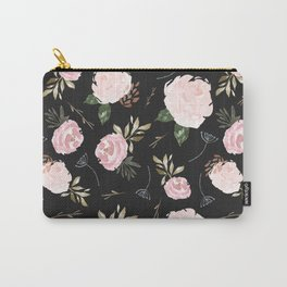 Floral Blossom - Black Backgroud Carry-All Pouch