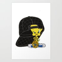 moschino Art Prints featuring Moschino Tweety by Claudio Velázquez