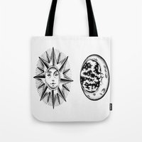 sun and moon Tote Bags featuring Sun & Moon by Cady Bogart