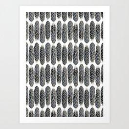 Black Stripe Feather Pattern Art Print