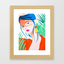 Girl with Freckles in Red Framed Art Print