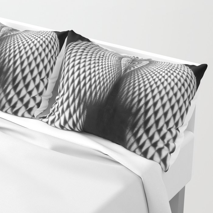 0364-JAL Nude Geometric Erotica Black & White Naked Woman Behind Below Bum Butt Ass Pillow Sham